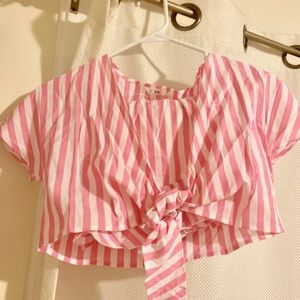 XS linen pink and white stripe two piece outfit